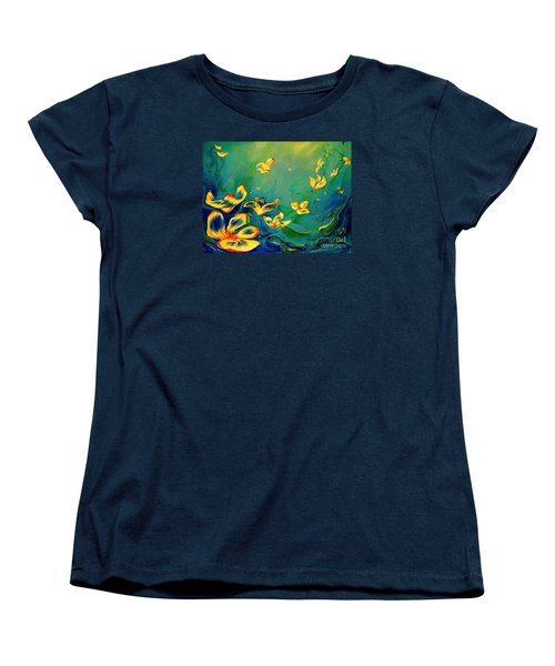 Women's T-Shirt (Standard Cut) featuring the painting Fantasy World by Teresa Wegrzyn