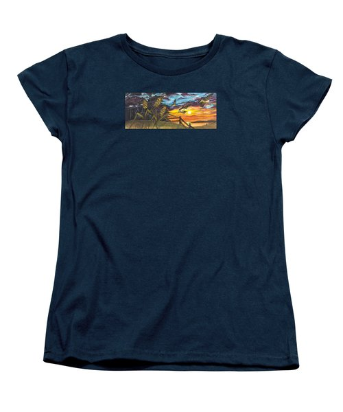 Women's T-Shirt (Standard Cut) featuring the painting Farm Sunset by Darren Cannell