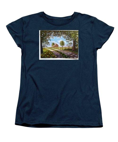 Farmhouse Framed By Trees Women's T-Shirt (Standard Cut)
