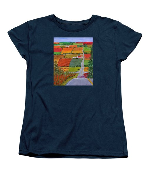 Country Farmland Quilt Women's T-Shirt (Standard Cut) by Mike Caitham