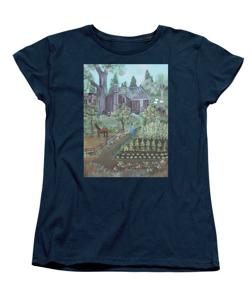 Women's T-Shirt (Standard Cut) featuring the painting Farmstead by Virginia Coyle