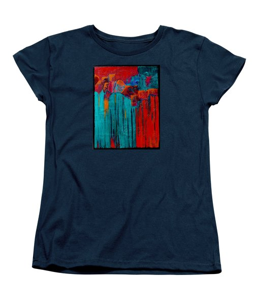 Women's T-Shirt (Standard Cut) featuring the painting Waterfall by Nancy Jolley