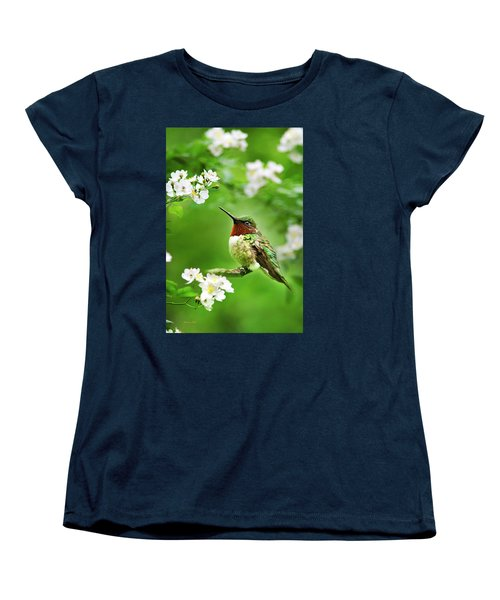 Fauna And Flora - Hummingbird With Flowers Women's T-Shirt (Standard Cut) by Christina Rollo