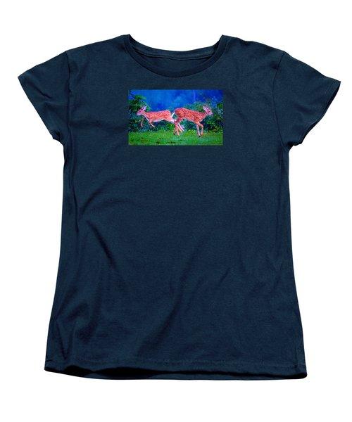 Women's T-Shirt (Standard Cut) featuring the photograph Fawn Frolic by Brian Stevens