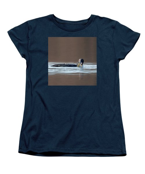 Feeding Common Loon Square Women's T-Shirt (Standard Cut) by Bill Wakeley