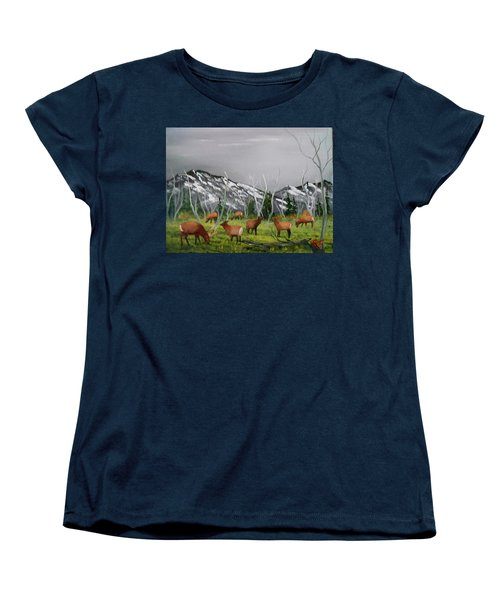 Women's T-Shirt (Standard Cut) featuring the painting Feeding Elk by Al Johannessen