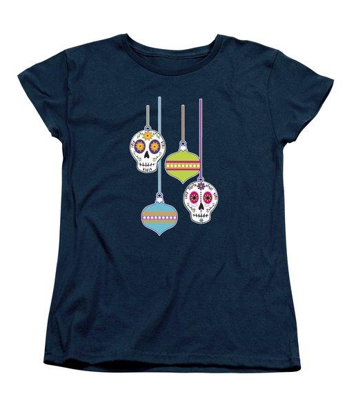 Women's T-Shirt (Standard Cut) featuring the digital art Feliz Navidad Holiday Sugar Skulls by Tammy Wetzel