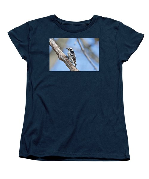Women's T-Shirt (Standard Cut) featuring the photograph Female Downey Woodpecker 1104  by Michael Peychich
