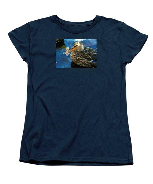 Female Mallard Duck In The Fox River Women's T-Shirt (Standard Cut)