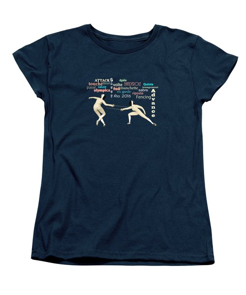 Women's T-Shirt (Standard Cut) featuring the digital art Fencing Duo by Methune Hively