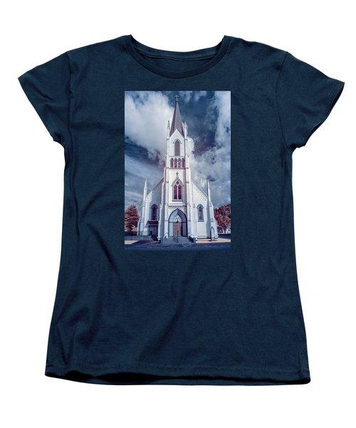 Women's T-Shirt (Standard Cut) featuring the photograph Ferndale Church In Infrared by Greg Nyquist