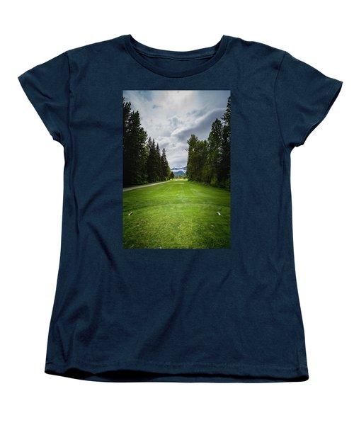 Women's T-Shirt (Standard Cut) featuring the photograph Fernie Tee Box by Darcy Michaelchuk