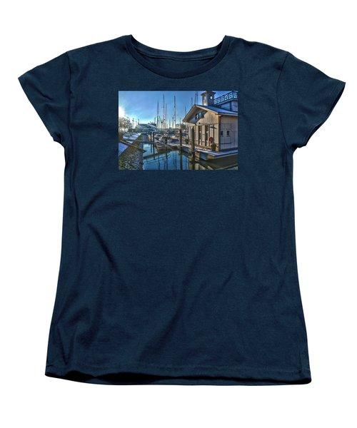 Ferry Harbour In Winter Women's T-Shirt (Standard Cut) by Frans Blok