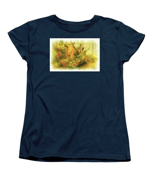 Women's T-Shirt (Standard Cut) featuring the photograph Festive Holiday Candle by Lois Bryan