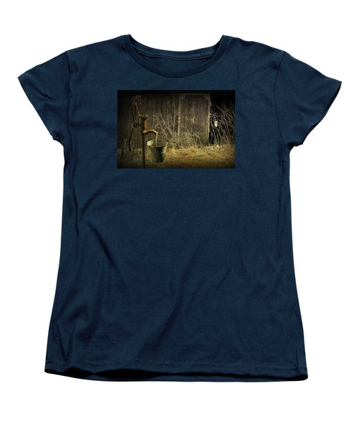 Fetching Water From The Old Pump Women's T-Shirt (Standard Cut) by Randall Nyhof