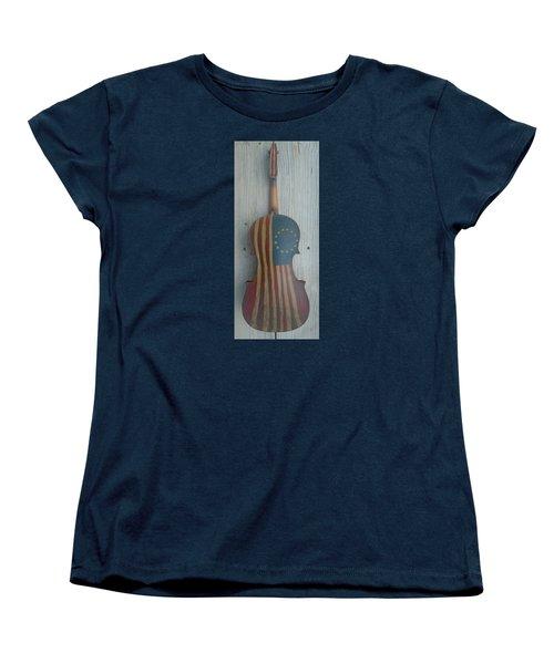Fiddle Thirteen Star Flag Women's T-Shirt (Standard Cut) by Steve  Hester