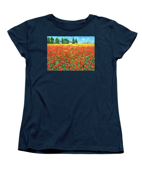 Women's T-Shirt (Standard Cut) featuring the painting Field And Poppies by Dmitry Spiros