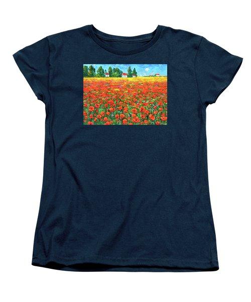 Field And Poppies Women's T-Shirt (Standard Cut) by Dmitry Spiros