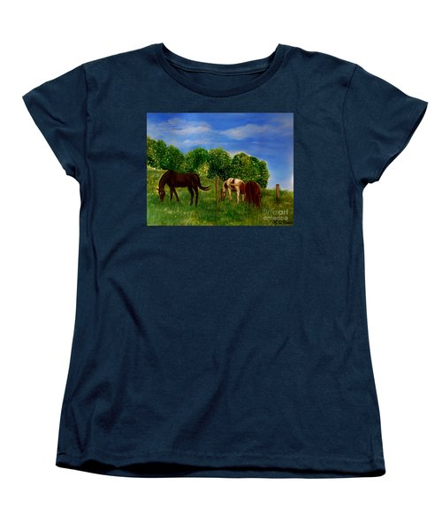 Field Of Horses' Dreams Women's T-Shirt (Standard Cut) by Kimberlee Baxter