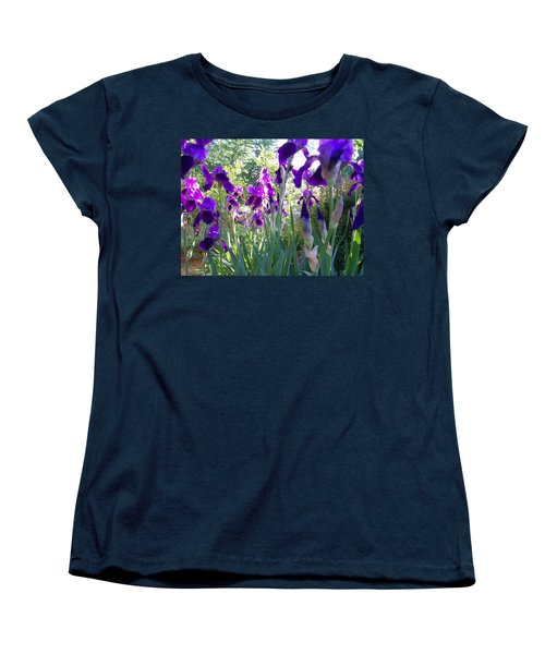 Women's T-Shirt (Standard Cut) featuring the digital art Field Of Irises by Barbara S Nickerson