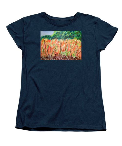 Women's T-Shirt (Standard Cut) featuring the painting Fiery Bushes by Esther Newman-Cohen