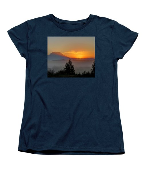 Women's T-Shirt (Standard Cut) featuring the photograph Fiery Fall Sunrise by Peter Mooyman