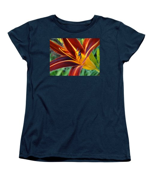 Women's T-Shirt (Standard Cut) featuring the photograph Fiery Lilies In Bloom by Rebecca Overton