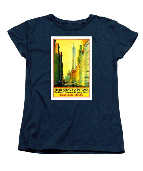 Fifth Avenue New York Travel By Train 1932 Frederick Mizen Women's T-Shirt (Standard Cut) by Peter Gumaer Ogden Collection