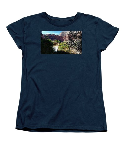 Women's T-Shirt (Standard Cut) featuring the photograph Fifty Falls And Havasupai Falls Havasupai Indian Reservation by Joseph Hendrix