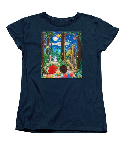 Women's T-Shirt (Standard Cut) featuring the drawing Fighting Orcs And Giant Spiders by Matt Konar