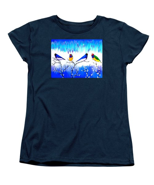 Finches Women's T-Shirt (Standard Cut) by Cathy Jacobs