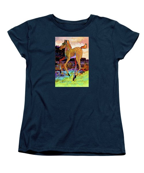 Women's T-Shirt (Standard Cut) featuring the painting Finding His Legs by Bob Coonts