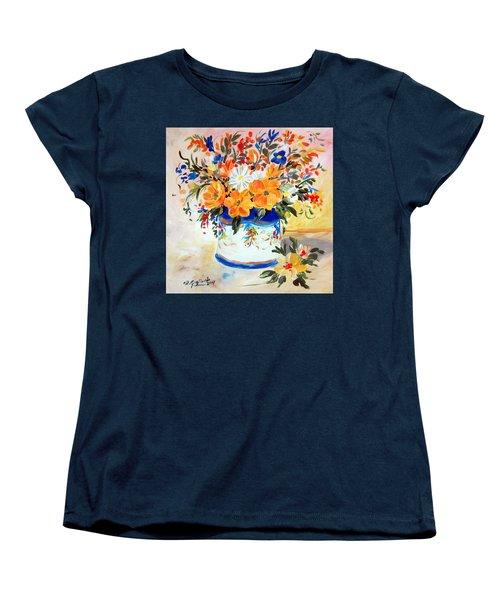 Women's T-Shirt (Standard Cut) featuring the painting Fiori Gialli Natura Morta by Roberto Gagliardi