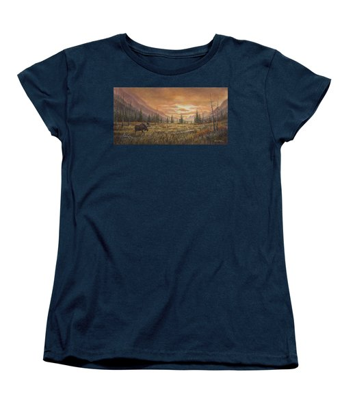 Women's T-Shirt (Standard Cut) featuring the painting Fire In The Sky by Kim Lockman