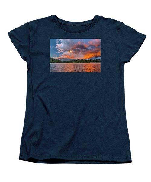 Fire Sunset Over Shasta Women's T-Shirt (Standard Cut) by Greg Nyquist