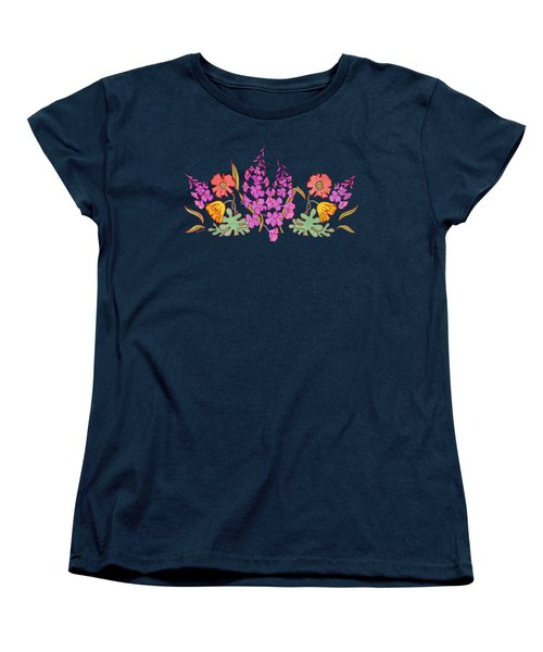 Fireweed And Poppies Cascade Women's T-Shirt (Standard Cut) by Teresa Ascone