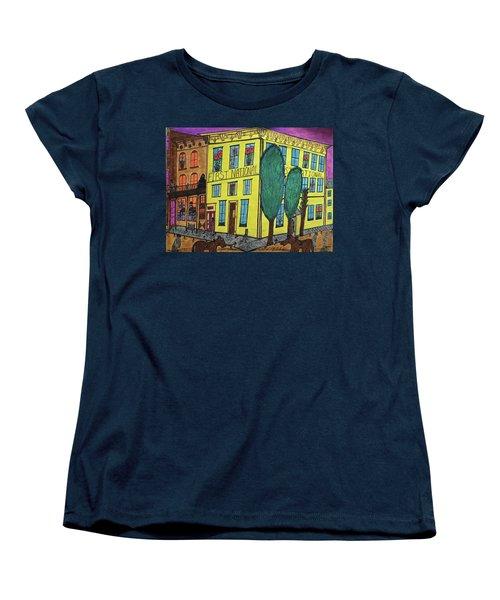 Women's T-Shirt (Standard Cut) featuring the painting First National Hotel. Historic Menominee Art. by Jonathon Hansen