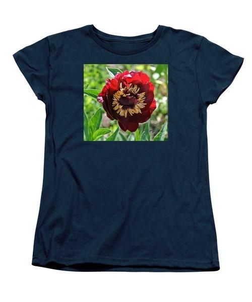 First Peony Bloom Women's T-Shirt (Standard Cut) by Marsha Heiken