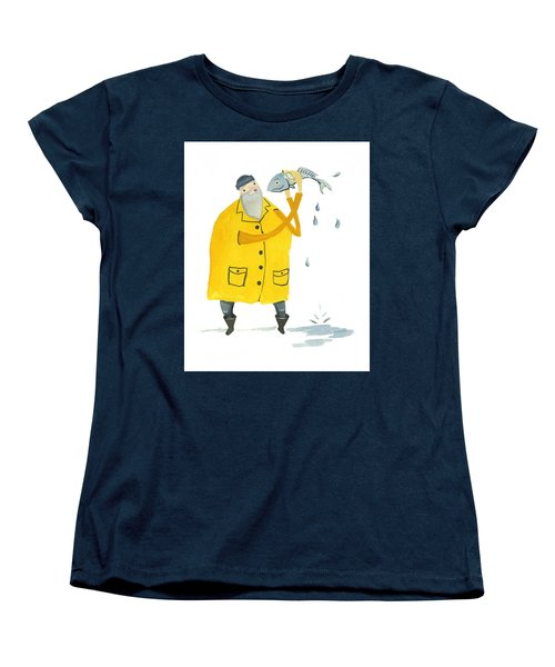 Women's T-Shirt (Standard Cut) featuring the painting Fisherman by Leanne WILKES