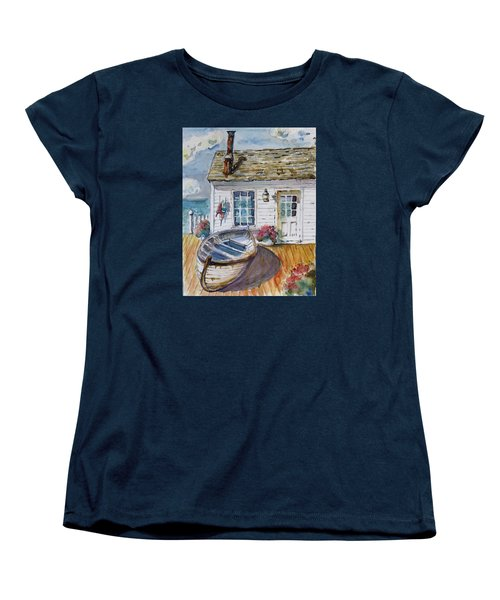 Women's T-Shirt (Standard Cut) featuring the painting Fisherman's Cottage by P Maure Bausch