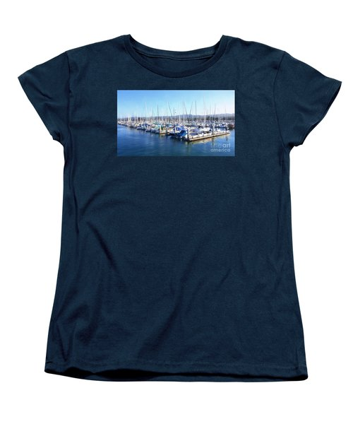 Fisherman's Wharf Monterey Women's T-Shirt (Standard Cut) by Gina Savage