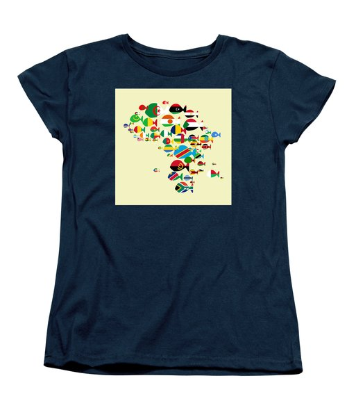 Fishes Map Of Africa Women's T-Shirt (Standard Cut) by Keshava Shukla
