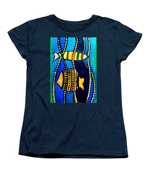 Women's T-Shirt (Standard Cut) featuring the painting Fishes With Seaweed - Art By Dora Hathazi Mendes by Dora Hathazi Mendes