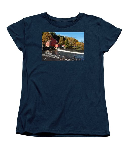 Fishing At The Old Mill Women's T-Shirt (Standard Cut) by Lori Tambakis