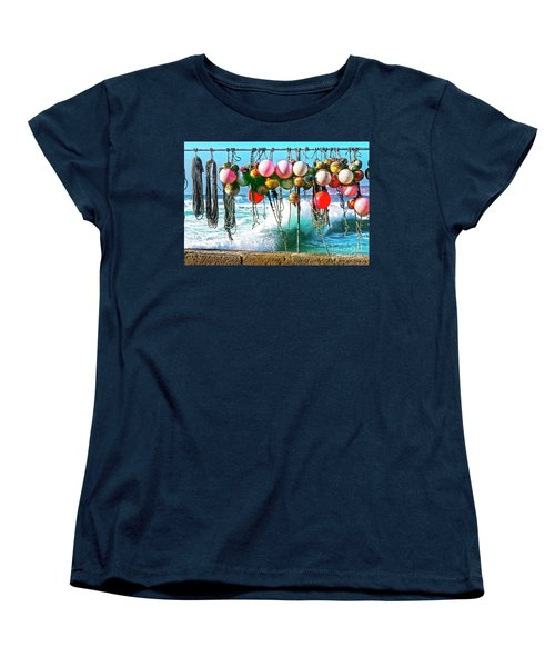 Women's T-Shirt (Standard Cut) featuring the photograph Fishing Buoys by Terri Waters