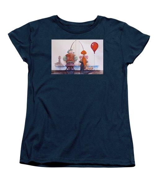 Women's T-Shirt (Standard Cut) featuring the painting Fishing With Grandpa by Geni Gorani