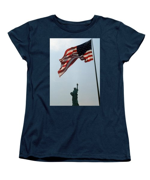 Flag And Statue Of Liberty Women's T-Shirt (Standard Cut) by Carl Purcell