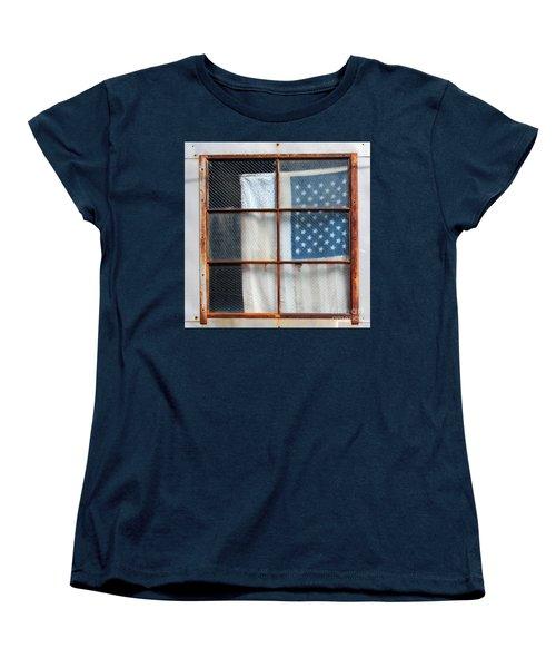 Flag In Old Window Women's T-Shirt (Standard Cut) by Cheryl Del Toro