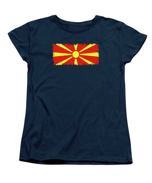Women's T-Shirt (Standard Cut) featuring the digital art Flag Of Macedonia by Bruce Stanfield