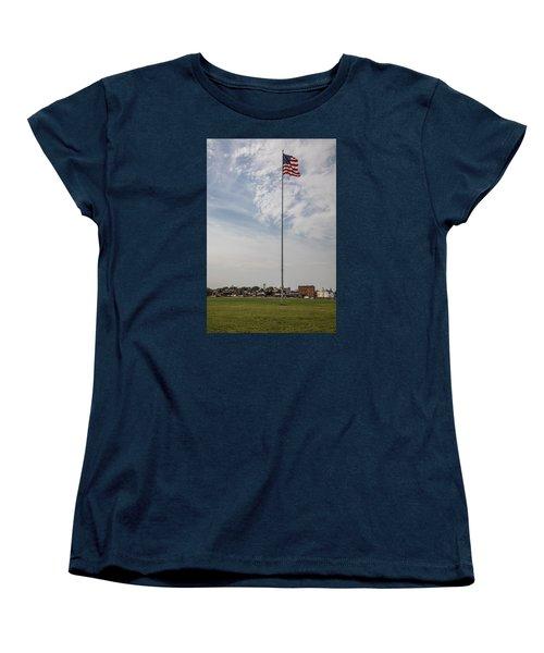 Flag Poll At Detroit Tiger Stadium  Women's T-Shirt (Standard Cut) by John McGraw
